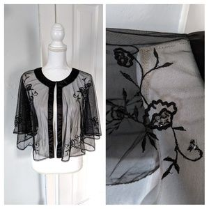 Sheer Embroidered Sequin Black Cape Wrap Formal